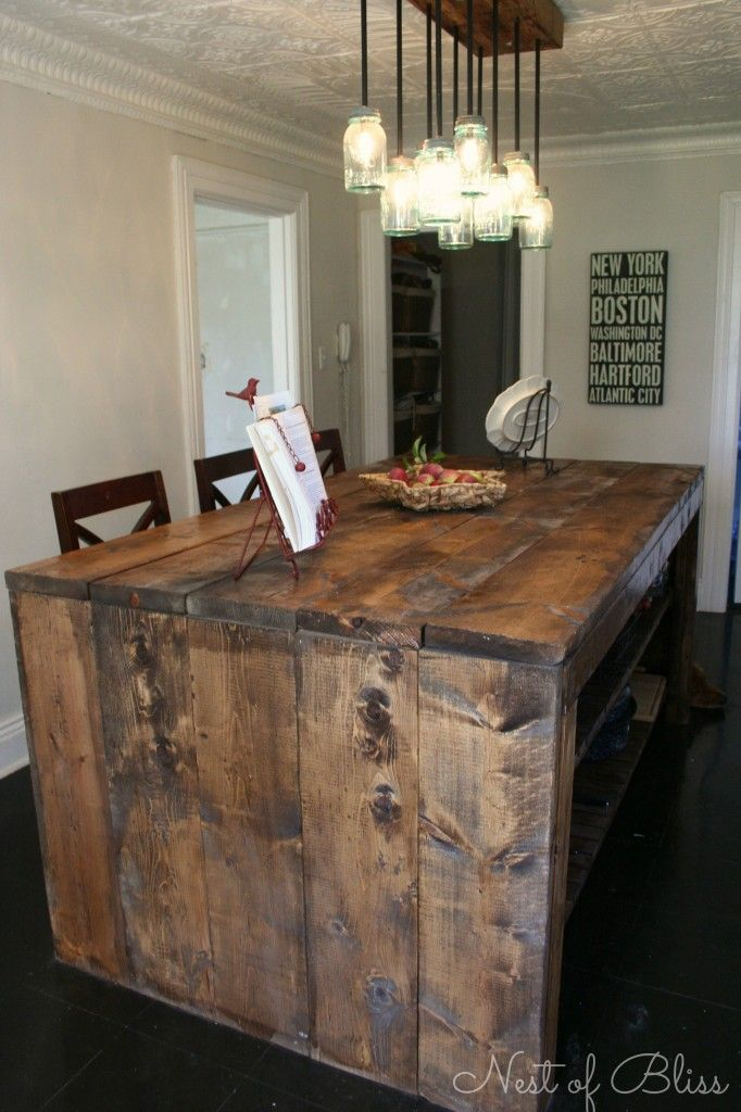 reclaimed wood island; how to distress pine to look like reclaimed wood