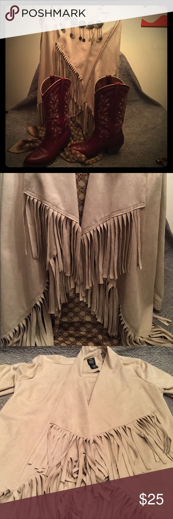 """Vaco for INC Faux Suede Fringed Jacket in Buff Southwestern fashion is so hot right now!  This stunning fringed jacket looks great with boots and jeans or belted over a LBD.  I wore this one time. EUC.  Size M but loose and drapey so will also fit L size. Pit to pit at the smallest draping: 19"""".  Fully open: 22"""". Machine wash cold, line dry INC International Concepts Jackets & Coats Blazers"""
