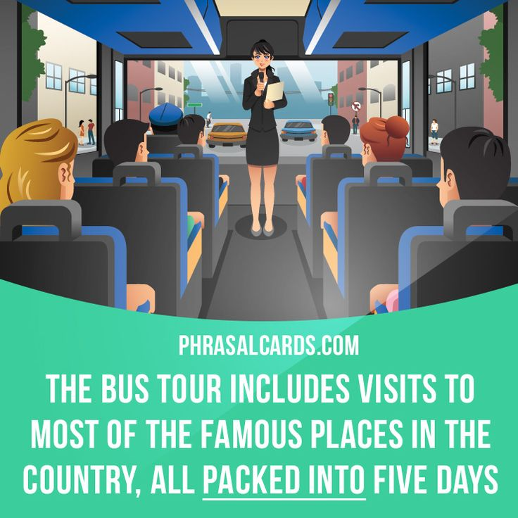 """Pack into"" means ""to fit a lot of activities into a limited time"".  Example: The bus tour includes visits to most of the famous places in the country, all packed into five days.  #phrasalverb #phrasalverbs #phrasal #verb #verbs #phrase #phrases #expression #expressions #english #englishlanguage #learnenglish #studyenglish #language #vocabulary #dictionary #grammar #efl #esl #tesl #tefl #toefl #ielts #toeic #englishlearning #vocab #wordoftheday #phraseoftheday"