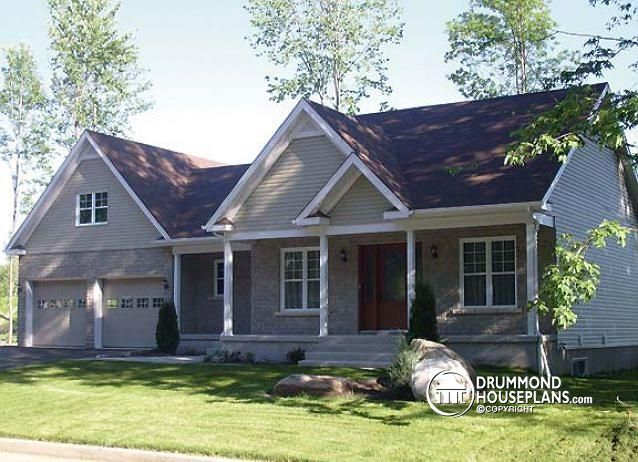 W3220 affordable craftsman home with unfinished basement for Affordable garage plans