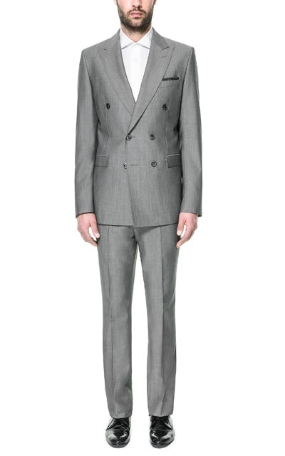 I've been looking for a double-breasted suit. Too bad they sold out of size 34s.  LIGHT GREY DOUBLE BREASTED MOHAIR SUIT - Suits - Man | ZARA United States  Update: Suit Acquired! ^_^
