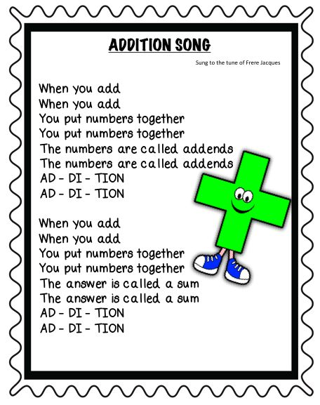 Great Addition and Subtraction songs to help the kids understand all the math vocab!