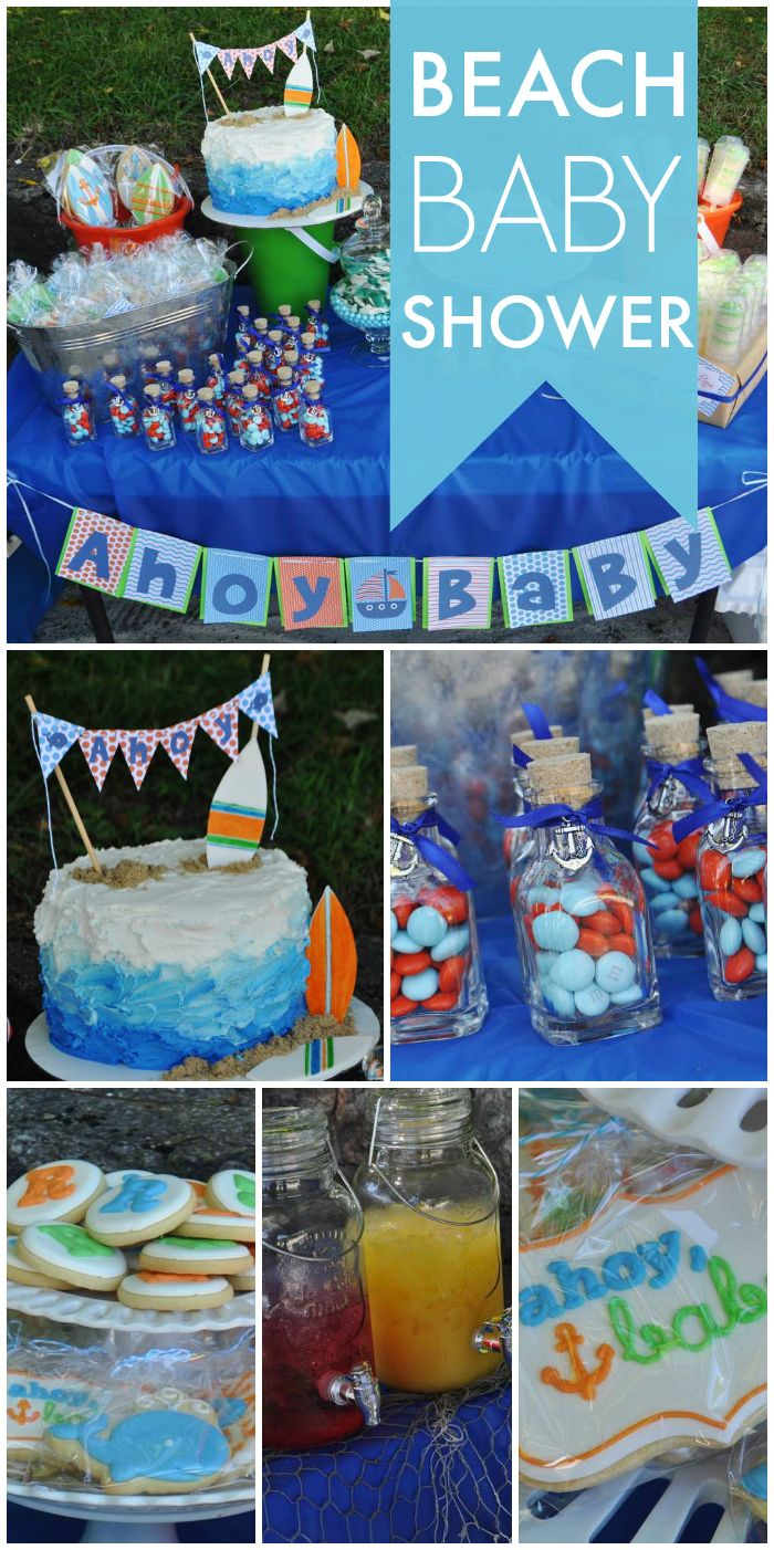 A beach themed Baby on Board shower with a juice bar, an ombre cake and key lime push up pops!  See more party planning ideas at CatchMyParty.com!