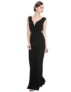 Kadın Büyük Beden Sofistike Kılıf Elbise Solid,Kolsuz Derin V Maksi Siyah Pamuklu Polyester Yaz Normal Bel Mikro-Esnek Orta
