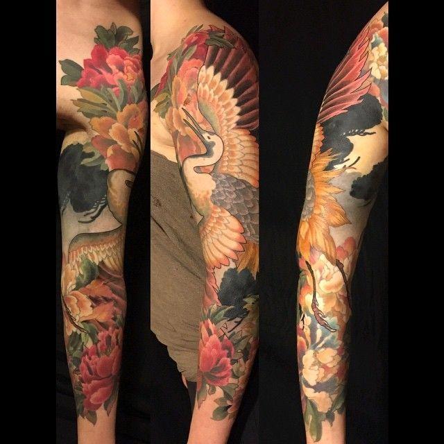 Crane- thank you Emilie!  #japanesetattoo #tattoo #crane #kimono