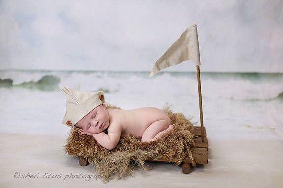Barco hélice - Prop de la balsa, marinero gorro, bandera, fotografía recién nacido Prop, Prop de la foto del barco, grande madera Prop