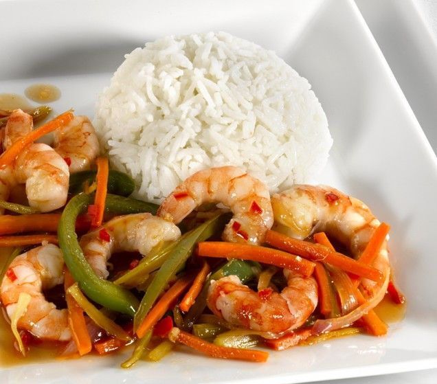 Sweet & Sour Shrimp with rice