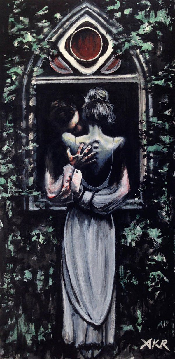 """He's more myself than I am. Whatever our souls are made of, his and mine are the same.""  - Emily Bronte, Wuthering Heights Acrylic on canvas, 24"" x 40"". Referenced a few photograp..."