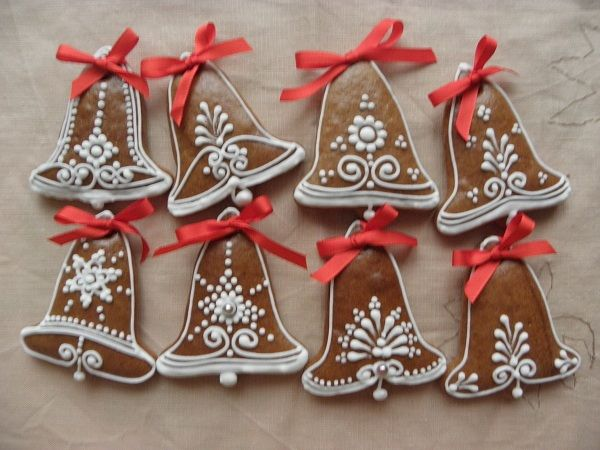 Christmas gingerbread bell cookies