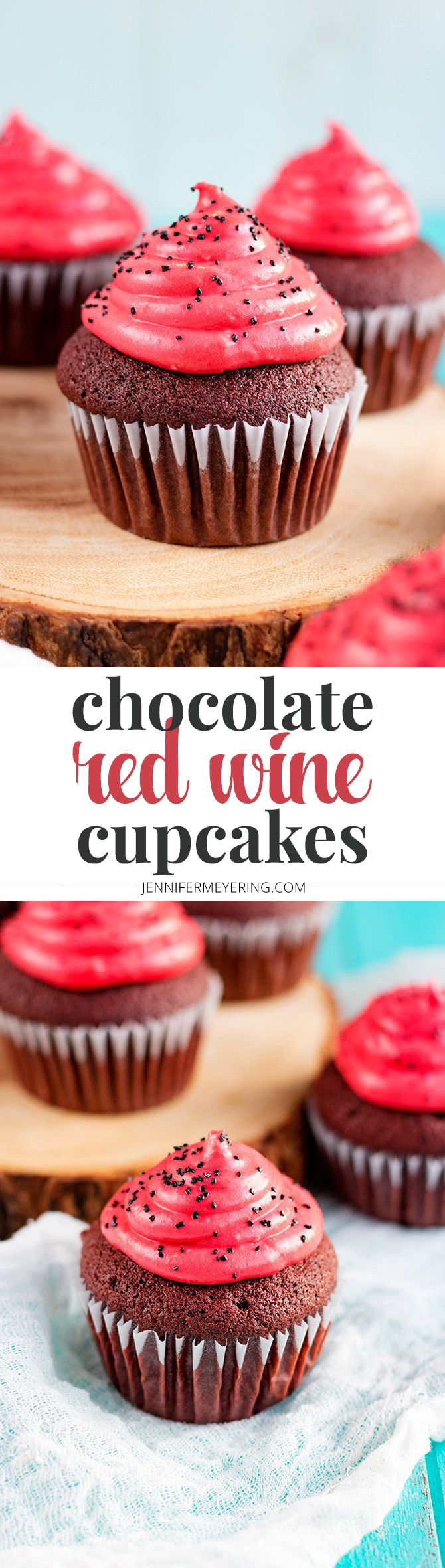 Chocolate Red Wine Cupcakes - JenniferMeyering.com