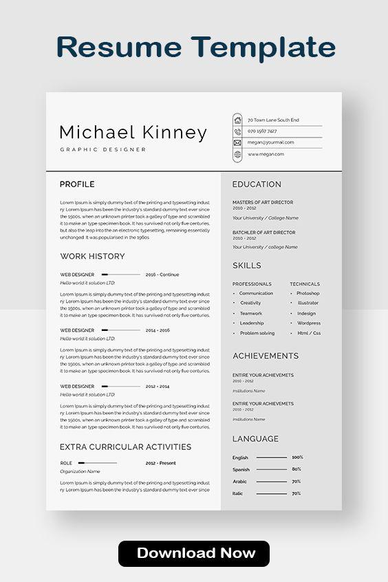 Professional Resume Template Modern Resume Template Creative Resume Template Cv Template Word Resume Template Resume Free Download In 2021 Resume Template Professional Resume Template Word Simple Resume Template