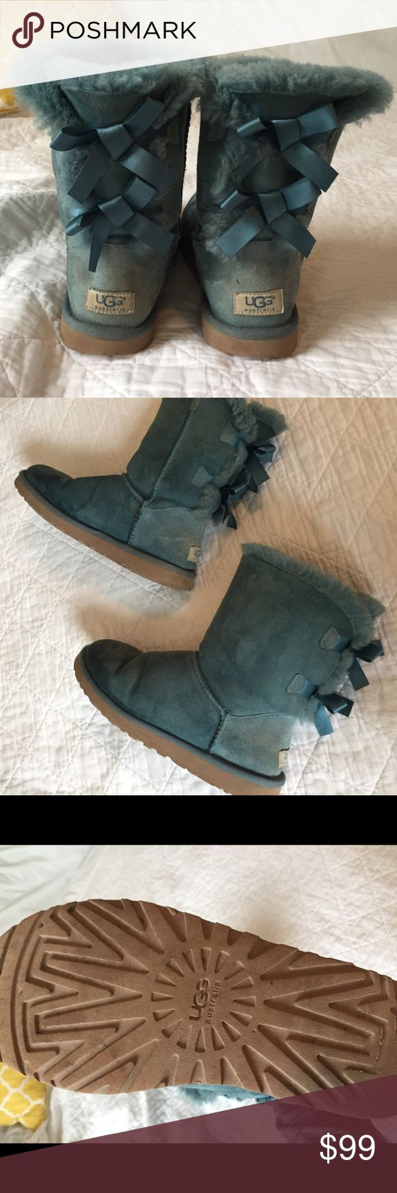 Bailey Bow Blue Uggs Very loved/used condition Very comfortable Size 8 UGG Shoes Winter & Rain Boots