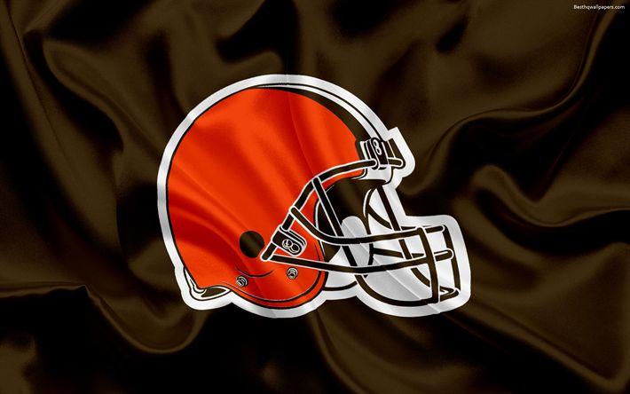 Télécharger fonds d'écran Browns de Cleveland, le logo, l'emblème de la Ligue Nationale de Football, la NFL, Cleveland, Ohio, etats-unis, le football Américain, le Nord de la Division