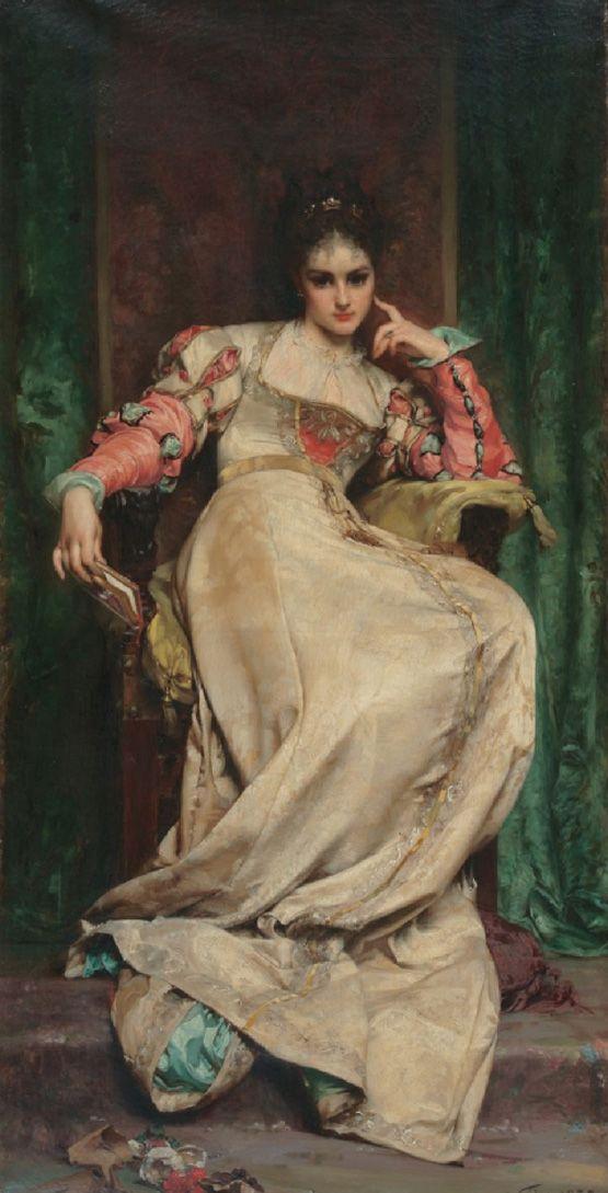"""Anatole Vély 1838-1882 """"La Meditation"""" (1875)"""