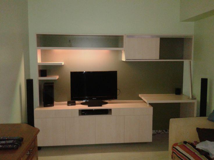 Mueble para tv con estantes y escritorios luz de led para for Mueble 3 estantes