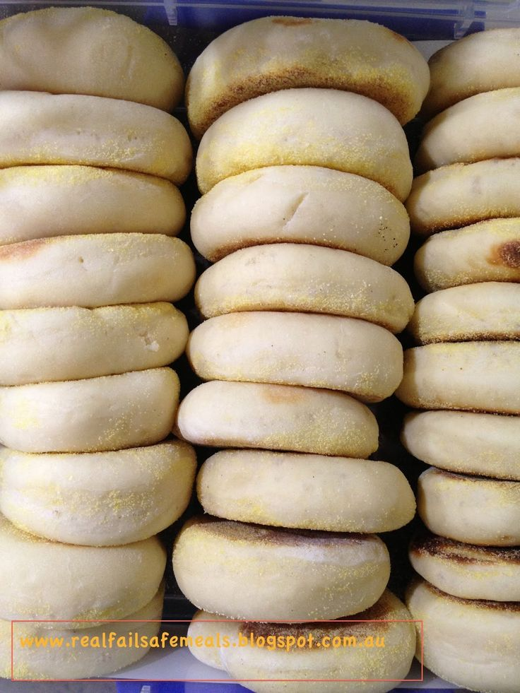 English Muffins     Good old, English Muffins. Split them with your fingers, pop them in the toaster then butter and spread with jam; gr...