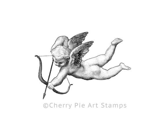 Raffaello's cherub/Cupid/angel CLING STAMP for acrylic