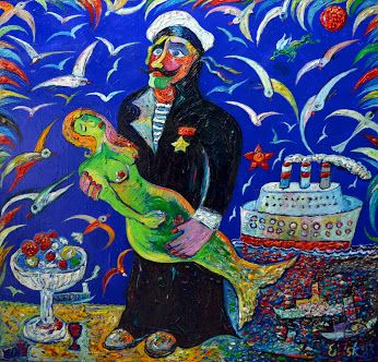 """""""Моряк и русалочка"""", 2014,  х.м., 100х100,  160 т.р. Каждому моряку по русалке, каждой женщине по мужчине!!! Счастье всегда в твоих руках!!!"""