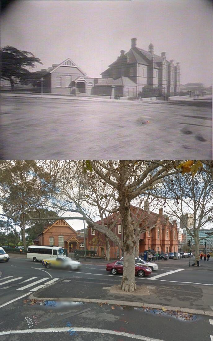 Railway Institute cnr Chalmers & Devonshire Sts, Surry Hills c1900>2014. [State Library NSW>Google Street View/by Phil Harvey]