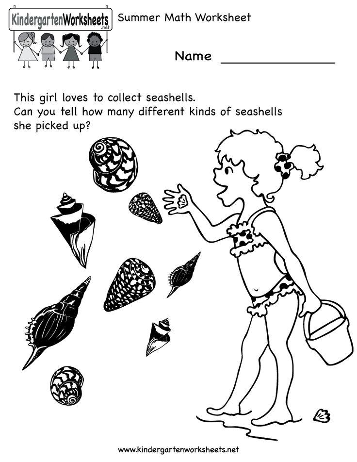 Kindergarten Summer Math Worksheet Printable