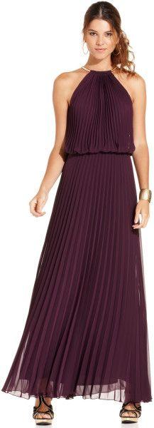 Xscape Dress Sleeveless Pleated Halter Blouson in Red (Plum)