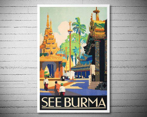Vedi Birmania viaggio Vintage Poster 1930  Poster di WallArty