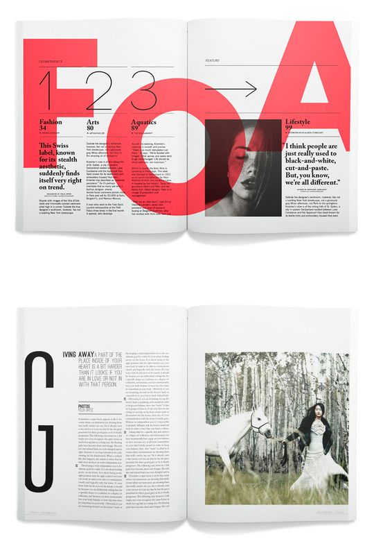 editorial | I am in love with the bright-colored letters behind the text in the first spread and the big first letter in the second. Also, the layout and typography..but that's a given if it's on my editorial board, isn't it? ;)