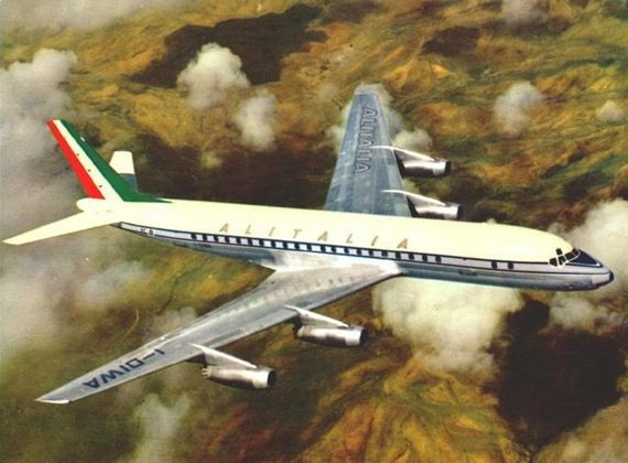 Auguri!  ..when i started flying, the two largest commercial airliners in service were the Boeing 707 and this, the Douglas DC-8, here in livery of Italian flag carrier, Alitalia.