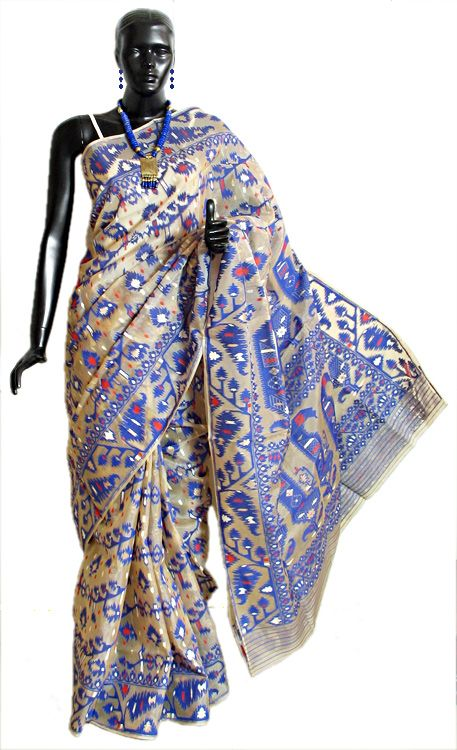 Ivory Dhakai Jamdani Saree from Kolkata with All-Over Weave in Purple and Golden Zari Thread (Silk Cotton))