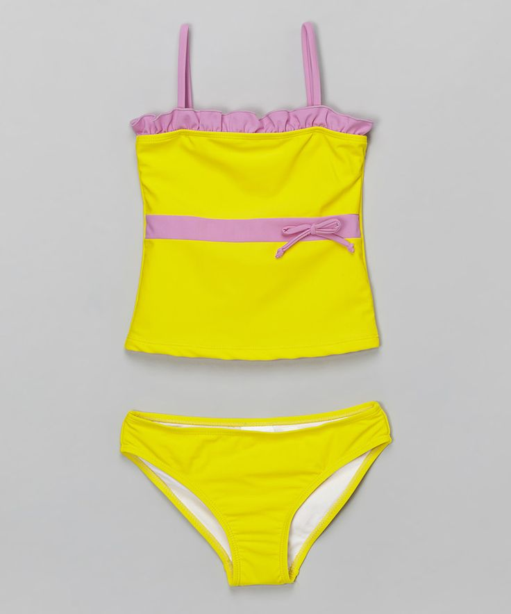 Look at this Sunshine Zone Yellow & Pink Tankini - Girls on #zulily today!