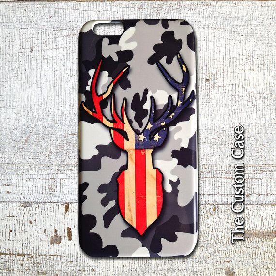 Deer Iphone Case, Stag Trophy Head Case, Patriotic Hunter Iphone Case, Deer on Camo Phone Case, Iphone 4, Iphone 5, Iphone 6, iphone 6 PLUS