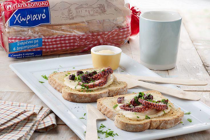 """Μπρουσκέτες με Ψωμί σε Φέτες """"Χωριανό"""" ΠΑΠΑΔΟΠΟΥΛΟΥ Σταρένιο με 6 Δημητριακά με μους ταραμά"""