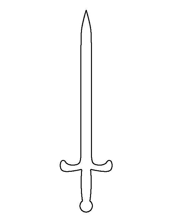 Sword pattern. Use the printable outline for crafts, creating stencils, scrapbooking, and more. Free PDF template to download and print at http://patternuniverse.com/download/sword-pattern/