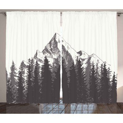 Loon Peak Belden Primitive Mountain with Fir Forest and Native American Arrow Figure Folk Style Retro Print Graphic Print & Text Semi-Sheer Rod Poc...