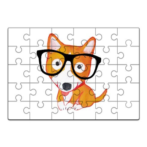 nerdy corgi Jigsaw by luciasalemi at zippi.co.uk