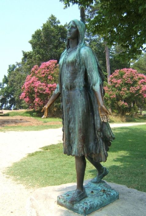 See the Pocahontas Statue at Historic Jamestowne, site of the first permanent English settlement in America.