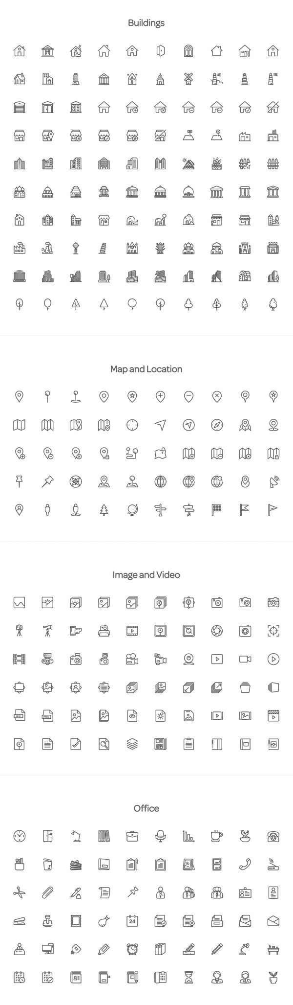 Buildings; Map and Location; Image and Video; Office – the full pack includes 2000 line icons with PSD, AI, EPS, SVG, and PNG files.