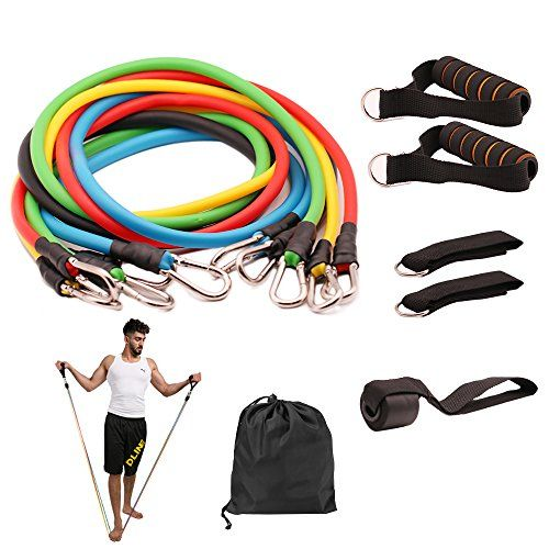 4b3457371f93 BMBZON Resistance Band Set 11 Pieces with Stackable Exercise Bands ...
