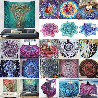 Indisch Mandala Tapisserie Wandbehang Wandteppich Strand Yoga Matte Picknick NEU