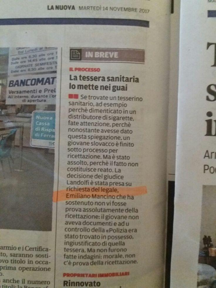 Su #lanuovaferrara si narra  che...#Tribunale #Ferrara #Ricettazione #Assoluzione #StudioLegaleMancino #AvvEmilianoMancino 😉✌👏👏👏