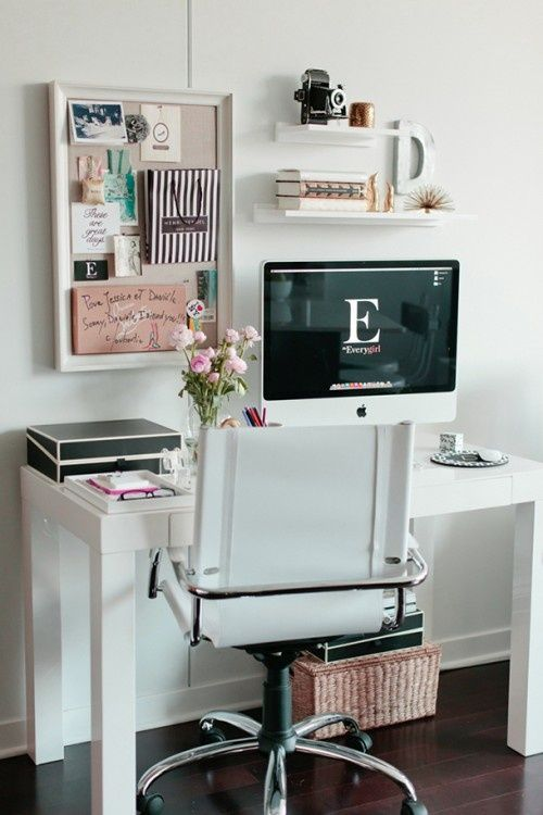 A crisp, white home office with a few distinct pops of pink! | Mary Kay
