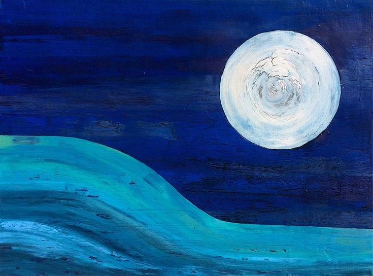Discover Original Art by Alicia Dunn | Big Moon acrylic painting | Art for Sale Online at UGallery