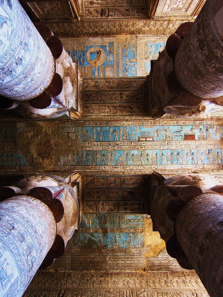 hieroglyphics on the ceiling of the temple of hathor, dendera, egypt | travel destinations in the middle east + ruins #wanderlust