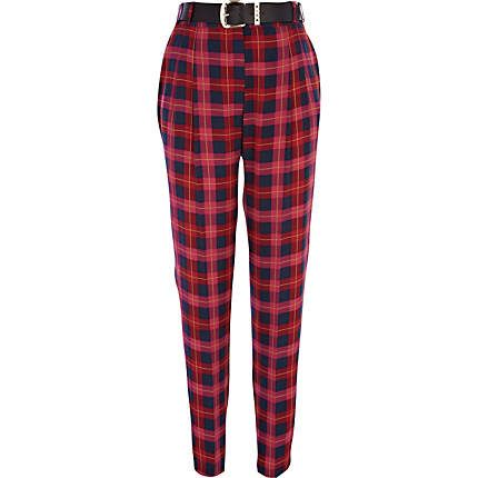 Pink check high waisted trousers £35.00