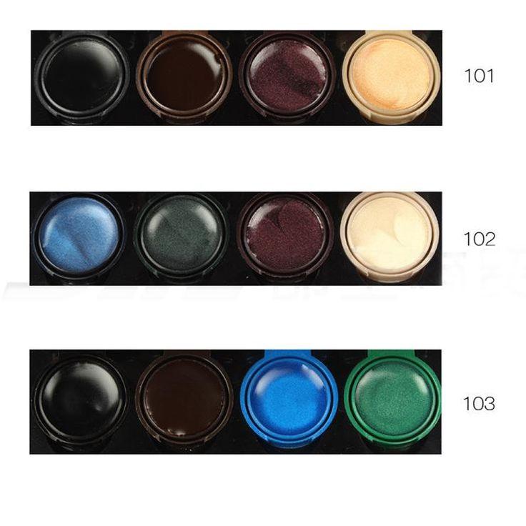Купить товарБренд Pro 4 цвета гель подводка для глаз макияж глаз подкладка палетта Eyeshadow крем дым глаза макияж комплект с кисть от музыка цветок в категории Тени для векна AliExpress.    2015 про 4 цветов гель подводка для глаз макияж глаз лайнер палитра  Крем для век дым глаза Макияж Установить с кисто