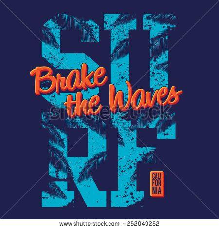 Surf typography, t-shirt graphics, vectors