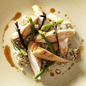 Chef Mark Jordan's rabbit and pearl barley and sweetcorn risotto