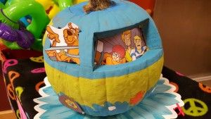 Scooby Doo Mystery Machine pumpkin at 2015 Panorama Pumpkin Parade for residents in our nursing facility.