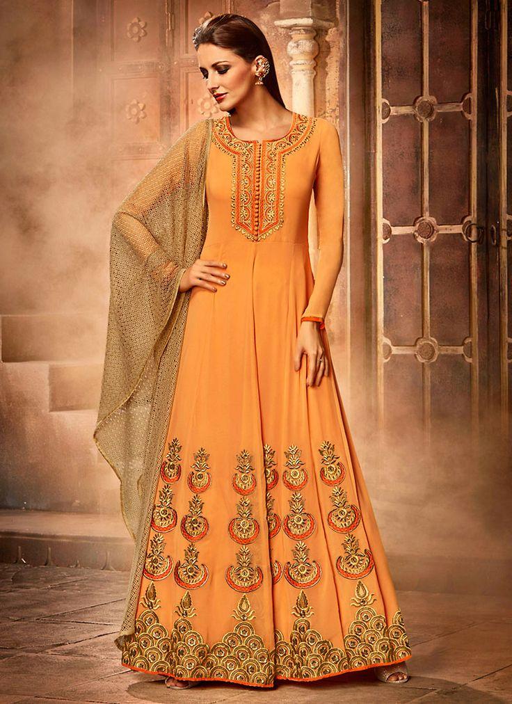 #Orange Georgette #Shalwar #Kameez #nikvik  #usa #designer #australia #canada #freeshipping #pakistani #suits