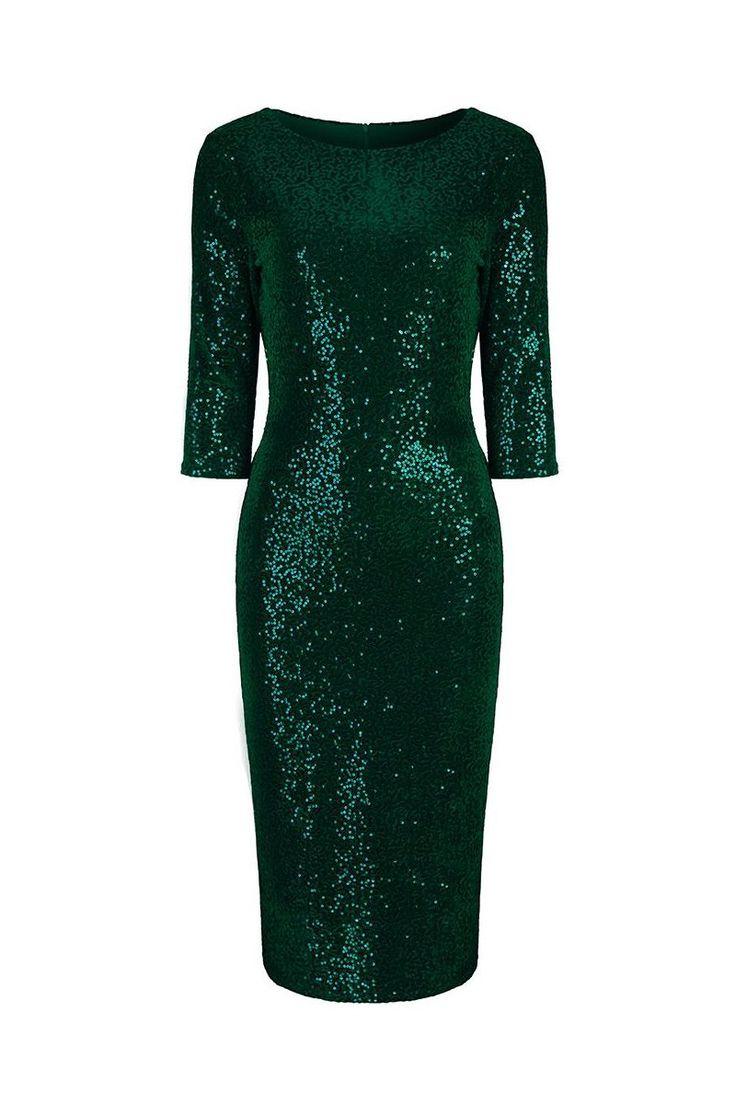 Emerald Green Velour Sequin Wiggle Dress